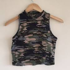 army pattern crop top 46 off bozzolo tops army pattern crop top from emily s closet on