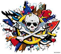 graffiti skull and bones skeletonl pop art illustration wall graffiti skull and bones skeletonl pop art illustration wall sticker