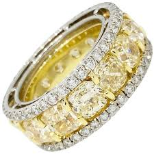 eternity rings gold images Cushion yellow diamond eternity ring in platinum and 18k yellow jpeg