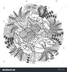 coral reef drawn line art style stock vector 358074032 shutterstock