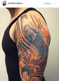 meaning a 1 koi fish and lotus flowers design stop