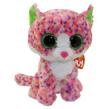 ty beanie boos sophie multi color cat glitter eyes medium