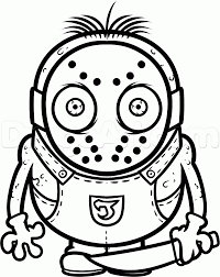 draw jason voorhees minion step step drawing sheets added