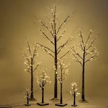 Tree Led Lights Brown Birch Snow Tree W Led Lights Seasonal
