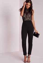 high neck jumpsuit lyst missguided lace sleeve high neck jumpsuit black in black