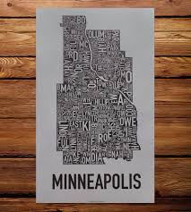 Chicago Neighborhood Map Poster by Minneapolis Neighborhood Map Art Print Features Local Pride