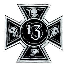 number 13 iron cross skull patch iron on applique alternative