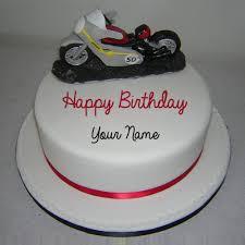 write name on red honda sports bike birthday cake