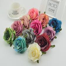 100pcs silk plastic roses flowers wall for vases home wedding