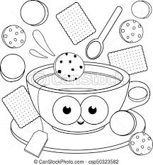 Cup Of Tea And Cookies Coloring Book Page A Hot Cup Of Vector Coloring Cookies