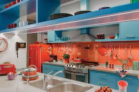 Orange Kitchens Ideas Vibrant Kitchen Design With Azure Blue And Red Orange Theme
