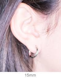small diamond hoop earrings small 14k white gold diamond cut hoop earrings 15mm 2 8mm
