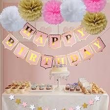 Happy Birthday Banner PomPom Decoration Pink Happy Birthday