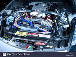 nissan skyline engine bay engine bay of modified turbo performance car stock photo royalty