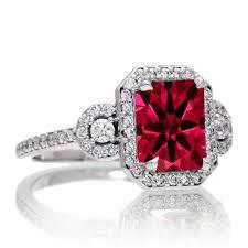 ruby emerald rings images 1 5 carat emerald cut three stone ruby halo diamond ring on 10k jpg
