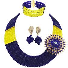 beads necklace wholesale images Wholesale royal blue yellow bead multi strands necklace nigerian jpg