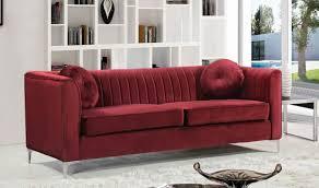 Red Velvet Sofa Set 612 Isabelle Living Room Set In Burgundy Velvet By Meridian