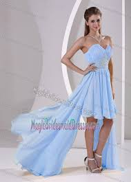 Light Blue High Low Dress Low Sweetheart Chiffon Beaded Bridemaid Dress In Light Blue