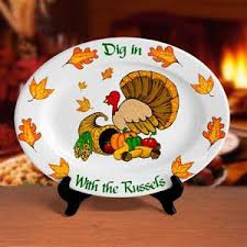 personalized ceramic platters personalized thanksgiving turkey platter 16 5 oval