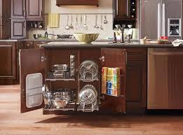 kitchen cabinet storage organizers wood flooring trash bin five