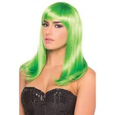 halloween costume wigs long straight hollywood wig bright green cosplay halloween costume