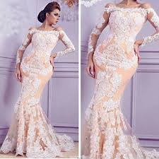 champagne mermaid lace prom dresses 2017 long sleeves off the