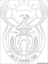 south africa coat arms coloring coloring pages