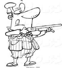 vector of a cartoon man shooting clay pigeons coloring page