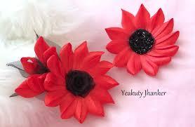 Flower Clips For Hair - diy make a kanzashi ribbon flower hair clip youtube
