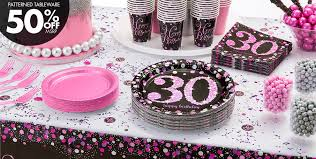 30th birthday decorations pink sparkling celebration 30th birthday party supplies party city