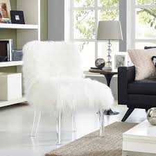 tov furniture sophie sheepskin lucite chair white tov a75