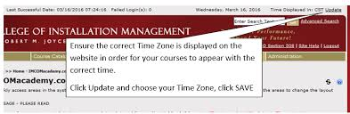 time zone layout user time zone setting college of installation management