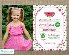 watermelon birthday invitations aubrey u0027s 1 year b day