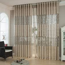 Sheer Embroidered Curtains Embroidered Pattern Brown Decorative Sheer Curtains