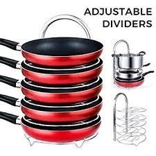 Pots And Pans Cabinet Rack Amazon Com Lifewit Height Adjustable Pan Pot Organizer Rack 5
