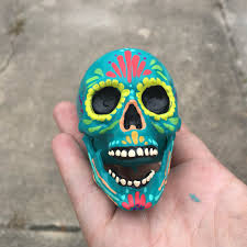 day of the dead painted small sugar skull skull sculpture