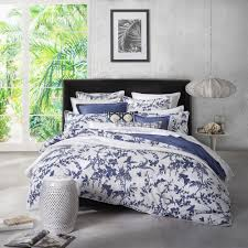 tropical floral navy duvet cover set by florence broadhurst
