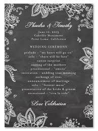 Chalkboard Wedding Program For Ever Chalkboard Wedding Invitations