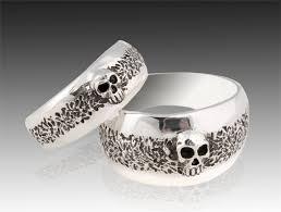 mens skull wedding rings silver skull wedding ring set solid sterling silver wedding