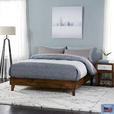 Made In Usa Bedroom Furniture Size Wood Bed Frame Platform Walnut Brown Bedroom Furniture