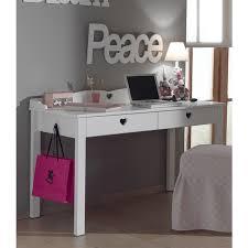 bureau style romantique bureau fille style romantique 2 tiroirs amori de vipack blanc