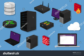 network topology lan objects icon design stock vector 368929175