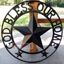 Texas Longhorn Home Decor God Bless Our Home Metal Barn Star Rustic Brown Texas Ring