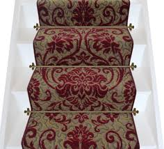 Silver Stair Rods by Reduced Axminster Carpets Medici Ruby Damask Stair Runner Per M