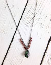 silver necklace ruby images Handmade silver necklace with tiny garnet ruby zoisite brio jpg