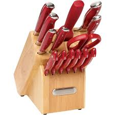 colored kitchen knives farberware 15 piece forged triple riveted knife set red