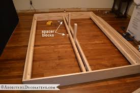Raised Platform Bed Frame Diy Stained Wood Raised Platform Bed Frame Part 1 Bed Frames