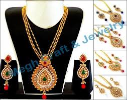 big necklace sets images Bollywood style big gold plated pendant necklace set at rs 754 jpg