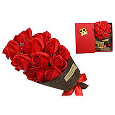 roses valentines day bouquet 5 artificial roses in a gift box
