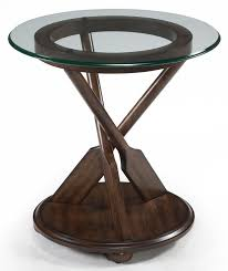 Glass Top Accent Table Round End Table With Three Oar Pedestal And Tempered Glass Top By